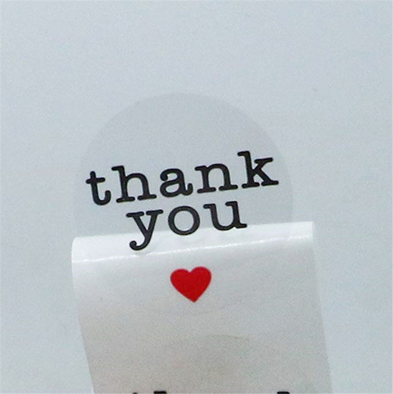 Купить с кэшбэком 500pcs per roll Clear Round Thank You Stickers seal labels with Red Heart envelope Sticker Gift box packaging stationery sticker