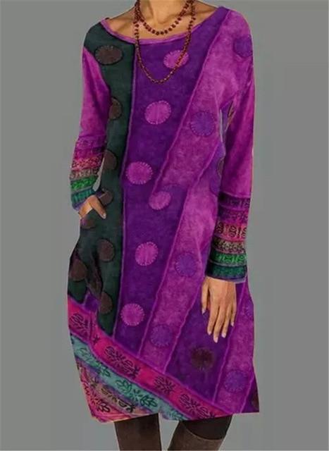 2021 Autumn Winter Women Loose Dots Pocket Vintage Printed Dress Full Long Sleeve Cotton Party Dresses Plus Sizes 3