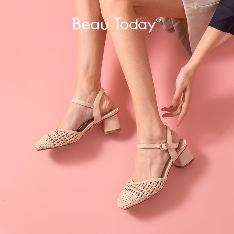 BeauToday Sandals Women Sheepskin Genuine Leather Weave Square Toe Ankle Buckle Strap Summer Lady Med Heel Shoes Handmade 31084