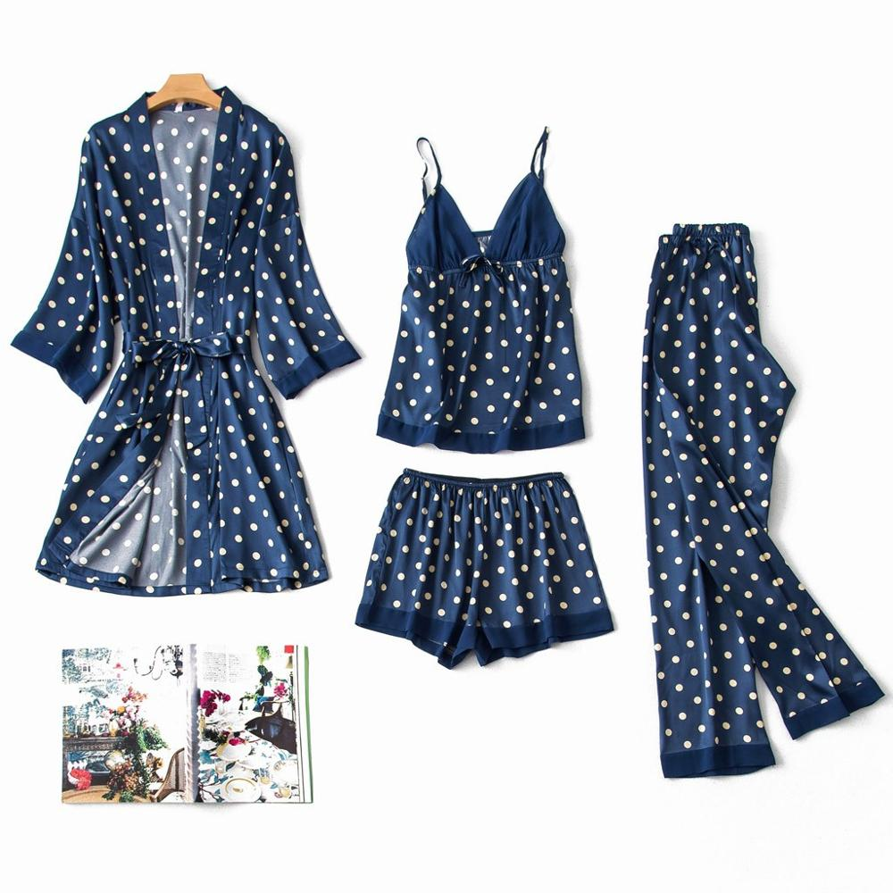 Women Sleepwear 4Pcs Satin Silk Pajamas Cardigan Nightdress Bathrobe Robes Underwear Sleepwear пижама женская