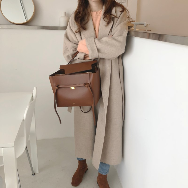 19 Winter Oversize Long Trench Coat Women Cashmere Coat Korean Lady Windbreaker Outwear Streetwear 87