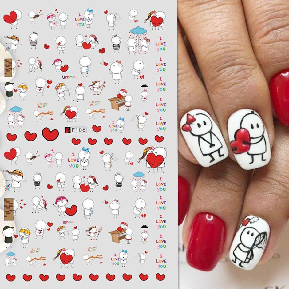 3D sevgililer Sticker çivi sevimli karikatür sevgilisi kaydırıcılar tırnak çete kız DIY tasarım çıkartmaları manikür tırnak sanat dekoru GLF106