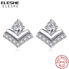 ELESHE Classic Cubic Zirconia Water Drop Wish Stud Earrings 925 Sterling Silver Earrings For Women Wedding Party Fine Jewelry(China)