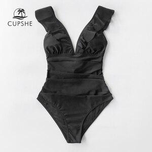 Image 4 - Cupshe sólido preto babados maiô de uma peça feminina sexy rendas até monokini banho 2020 menina praia fatos de banho