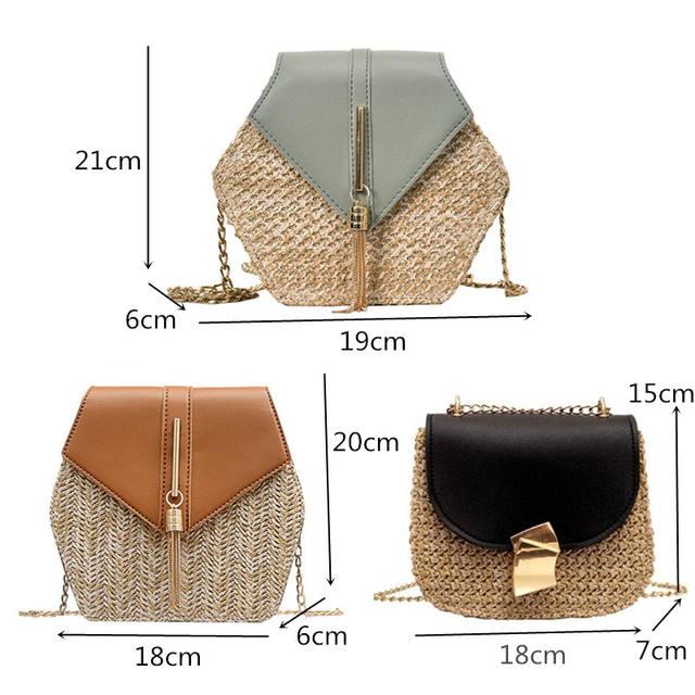 Hexagon multi Style Straw+leather Handbag