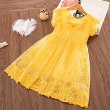 цена на 2020 Summer Girls Dress Lace Dress 60% Polyester Baby Princess Dress Children Bow Embroidered Flying Sleeves Girls Clothes