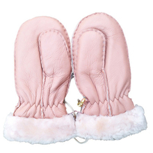 New Arrival Winter Baby Boys Girls Sheepskin wool-one Gloves Warm Rope Full Finger Mittens Gloves bonus gloves the one
