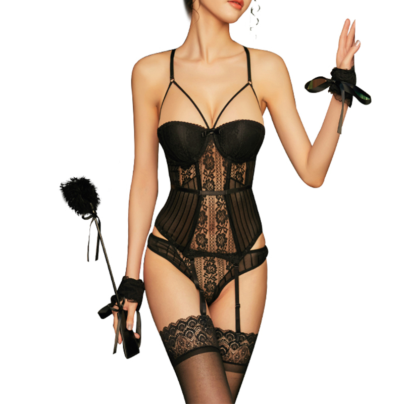 New High Elasticity   Corset     Bustier   With Cup Girdle Set With Straps Belt Breathable Fabric Lingerie Black   corset   dress drop