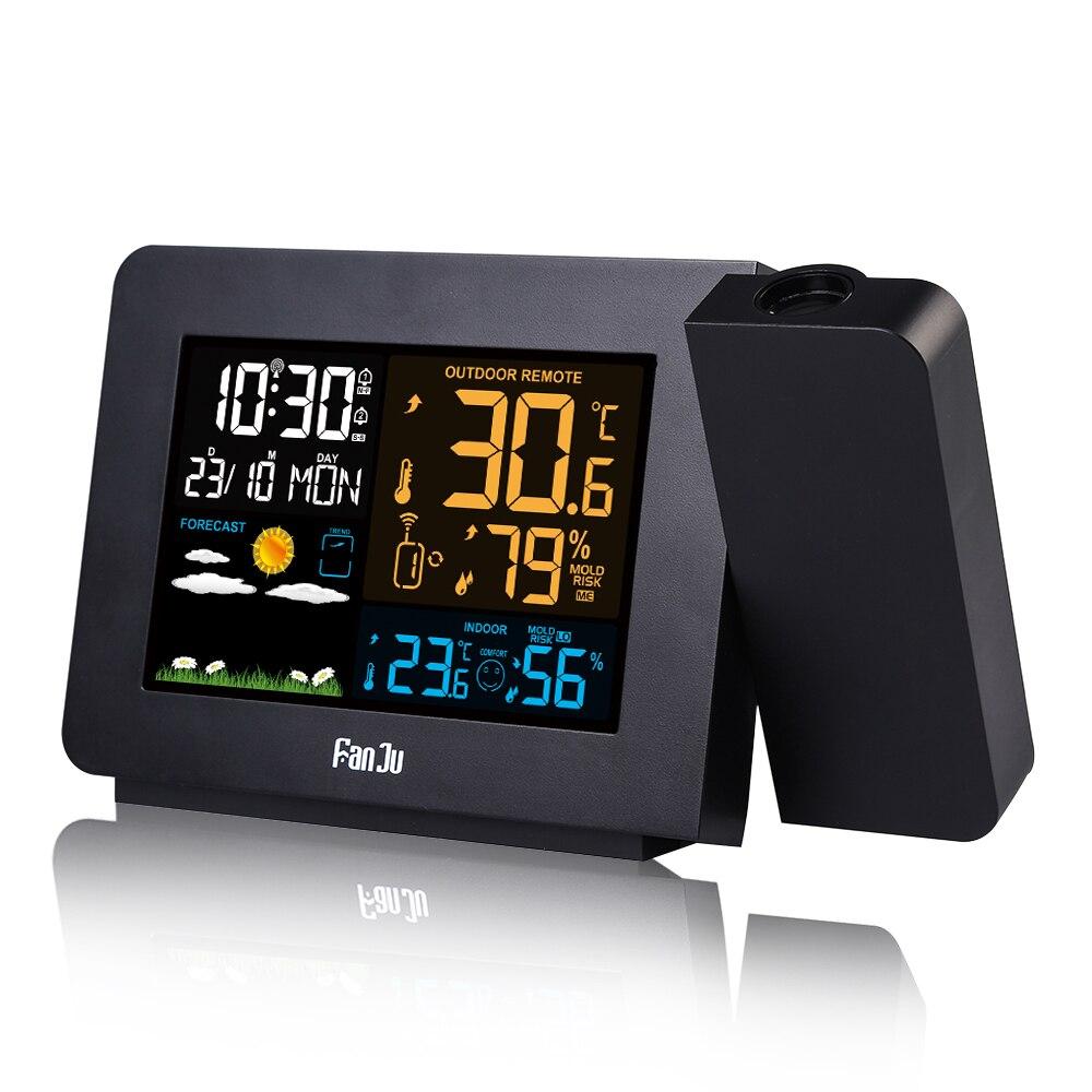 FanJu ЖК-будильник метеостанция с проекцией погода монитор DCF радио управление календарь 7 языков