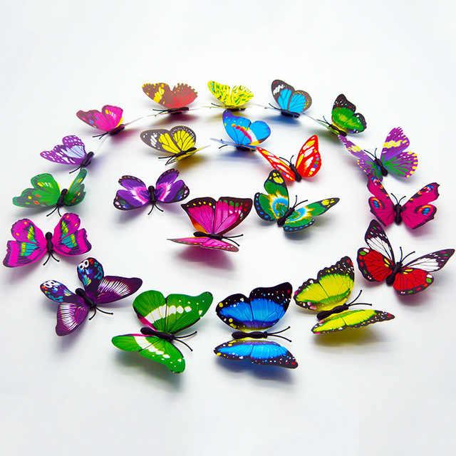 12 шт. Светящиеся в темноте игрушки новинка 3D светящиеся наклейки с бабочками спальня флуоресцентная игрушка декоративное украшение предмет интерьера Brinquedos подарок