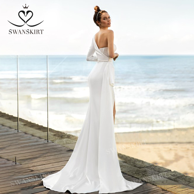 Chic Beaded Satin Wedding Dress New 2 In 1 Long Sleeve Mermaid Bridal Gown Court Train Princess SwanSarah P150 Vestido De Novia 3
