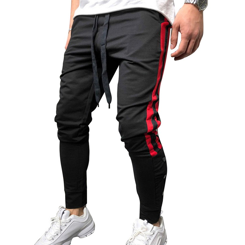 Casual Pants Joggers Men Waist-Trousers Spliced Slim-Fit Elastic Striped New Gyms Male