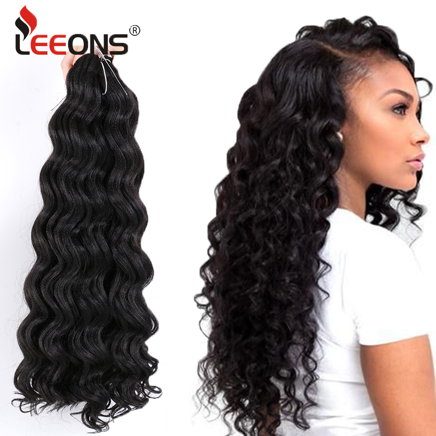 Leeons Cheap 20 Inch Afro Freetress Water Wave Crochet Braiding Hair Low Temperature Synthetic Fiber Freetress Braiding Hair