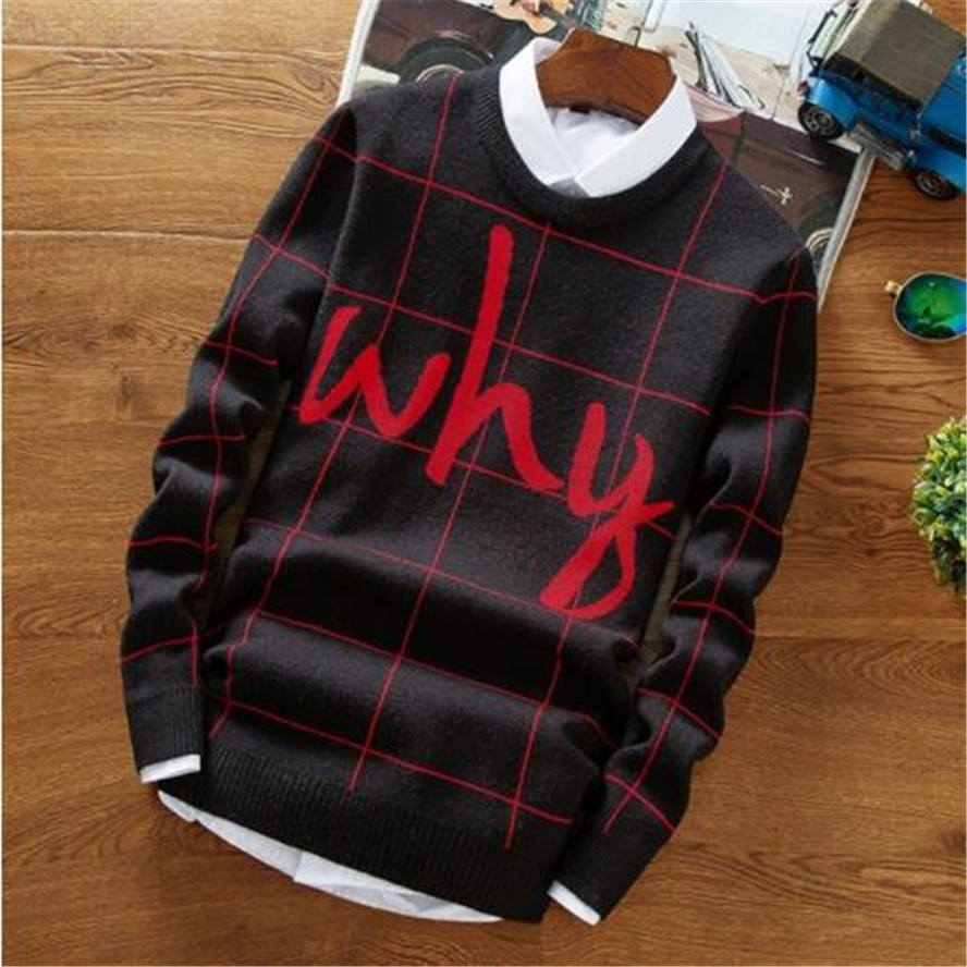 Christmas Sweater Men 2017 New Hip Hop Letter Printed Sweaters Male Casual Pullovers High Quality Warm Men's Knitted Sweaters