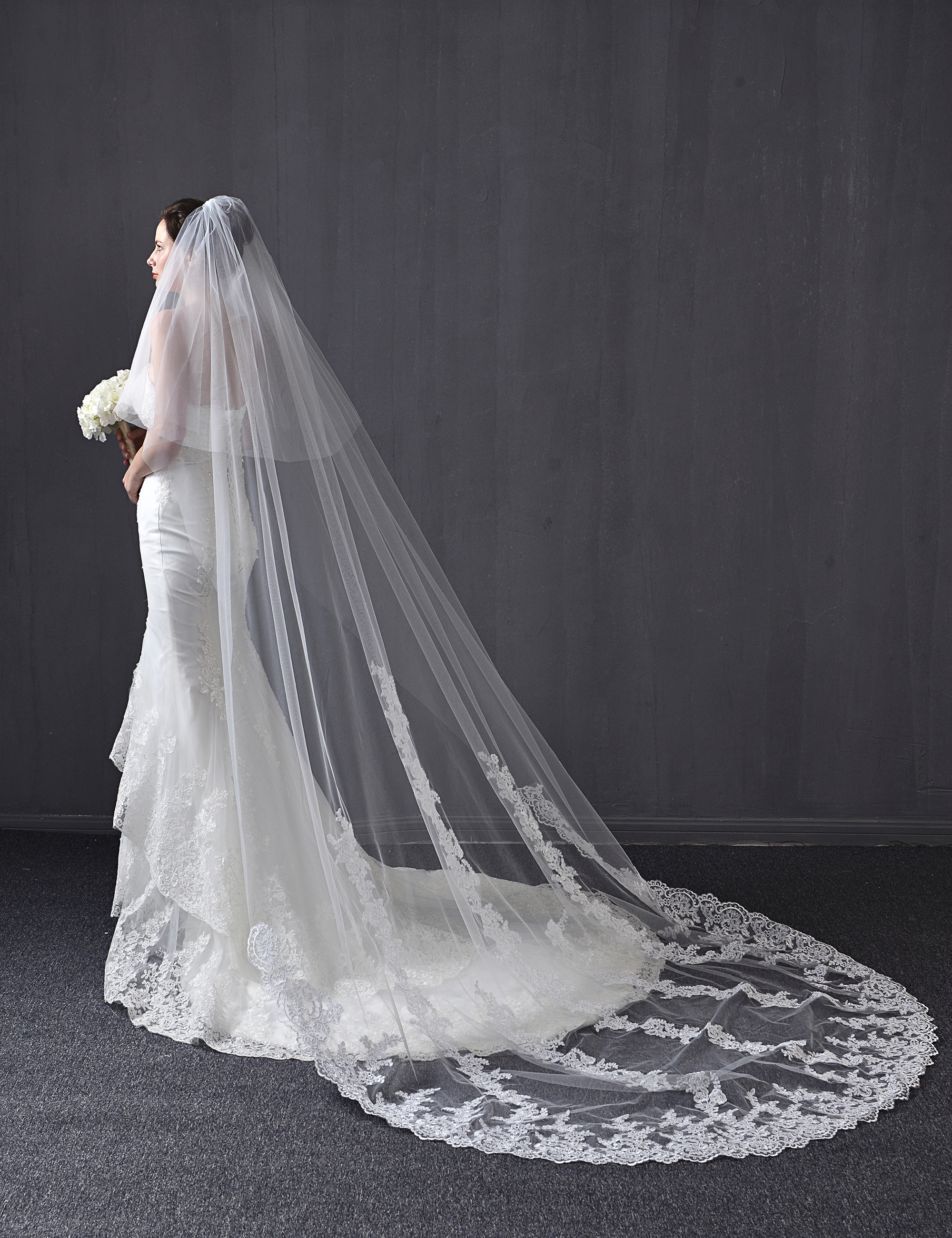 3 M Two Tiers Lace Wedding Veils Lace Sequin Wedding Veils Cathedral Veils White Ivory