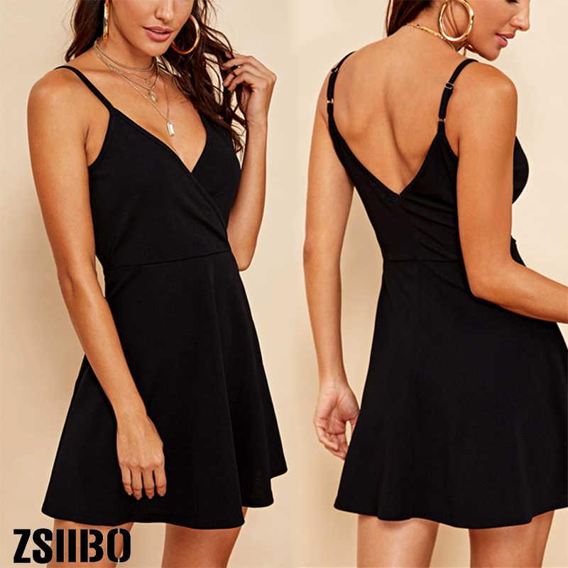 ZSIIBO 2020 فستان جديد نادي ليلة خارج أسود حفلة مثير الرسن بلون التفاف أكمام الخصر فستان قصير للمرأة