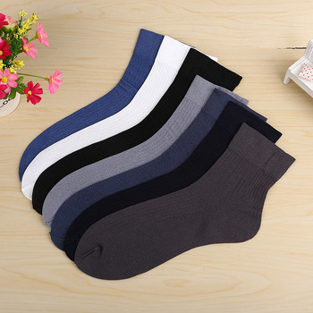 5 Pairs of Summer Mens Solid Color Short Tube Stockings Deodorant Business Mercerized Cool Socks Male