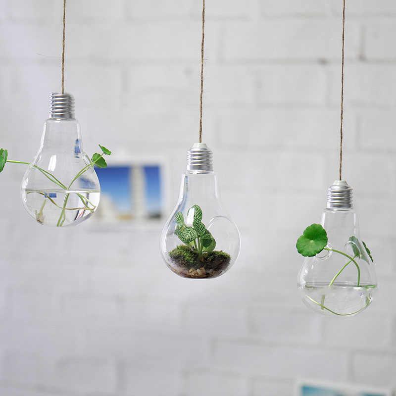 2019New прозрачная лампа в форме лампы Цветочная ваза Гидропонные растения контейнеры для террариума стеклянная ваза для домашнего офиса Свадебные украшения