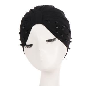 Image 4 - 1PC Solid Women Cotton Beading India Ruffle Turban Elastic Muslim Hat Chemo Cap Headwrap Soft Sleeping Hat Beanie Hijabs