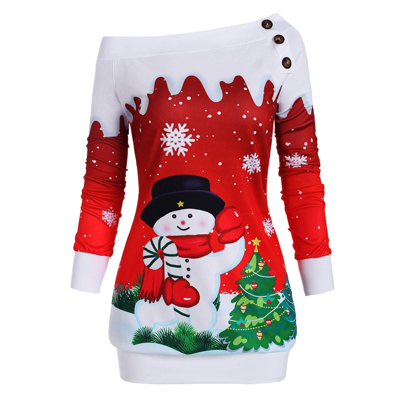 Christmas Hoodies Sweatshirts Women Autumn Winter Slash Neck Long Sleeve Snowman Print Pullovers Casual Warm Tops 6