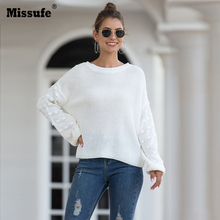 Missufe Winter Knitted Sweater Pullover Ladies O Neck Warm Sweaters Solid Woman Lantern Sleeve Top Femme
