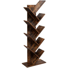 9-Shelf Bookcase Rack, Free Standing Book Storage Organizer,Wooden Tree Bookshelf,Storage for Books, Movies, Video Games, and CD