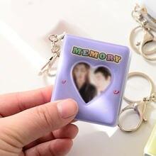Álbum de dibujos animados con 16 bolsillos, soporte de fotos de corazón de amor hueco de PVC, Mini pegatina de Color caramelo y Tarjeta De Nombre con llavero, 2021