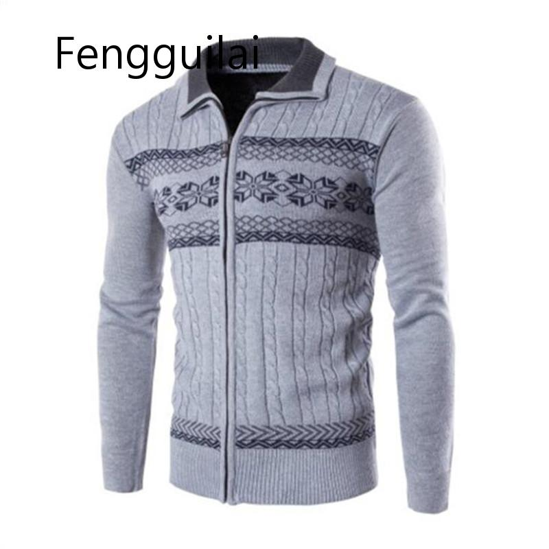 2019 New Autumn Winter Men's Cardigans Sweaters Men's Casual Sweaters Warm Zipper Men Cardigan Turn Down Collar Knitted Sweaters