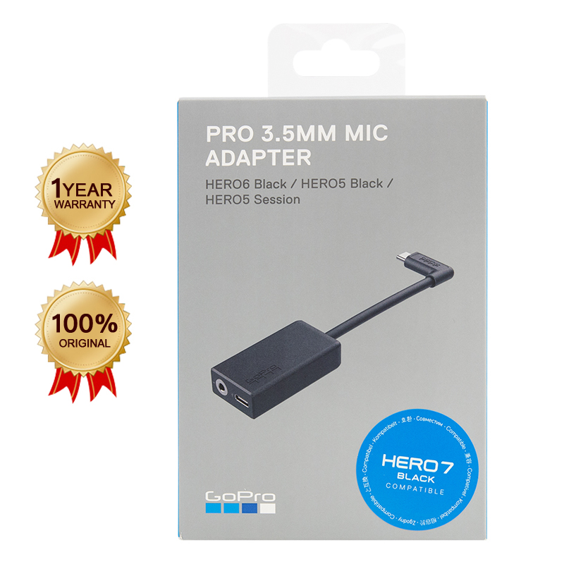 Cable Microphone-Adapter HERO AAMIC-001 BLACK Session/hero6 Original Gopro for 8