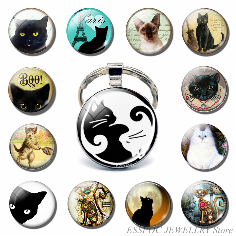 Vintage Two Yin Yang Cats Pendant  Key Chain Metal Key Ring Cabochon Keychain For Fashion Women Men