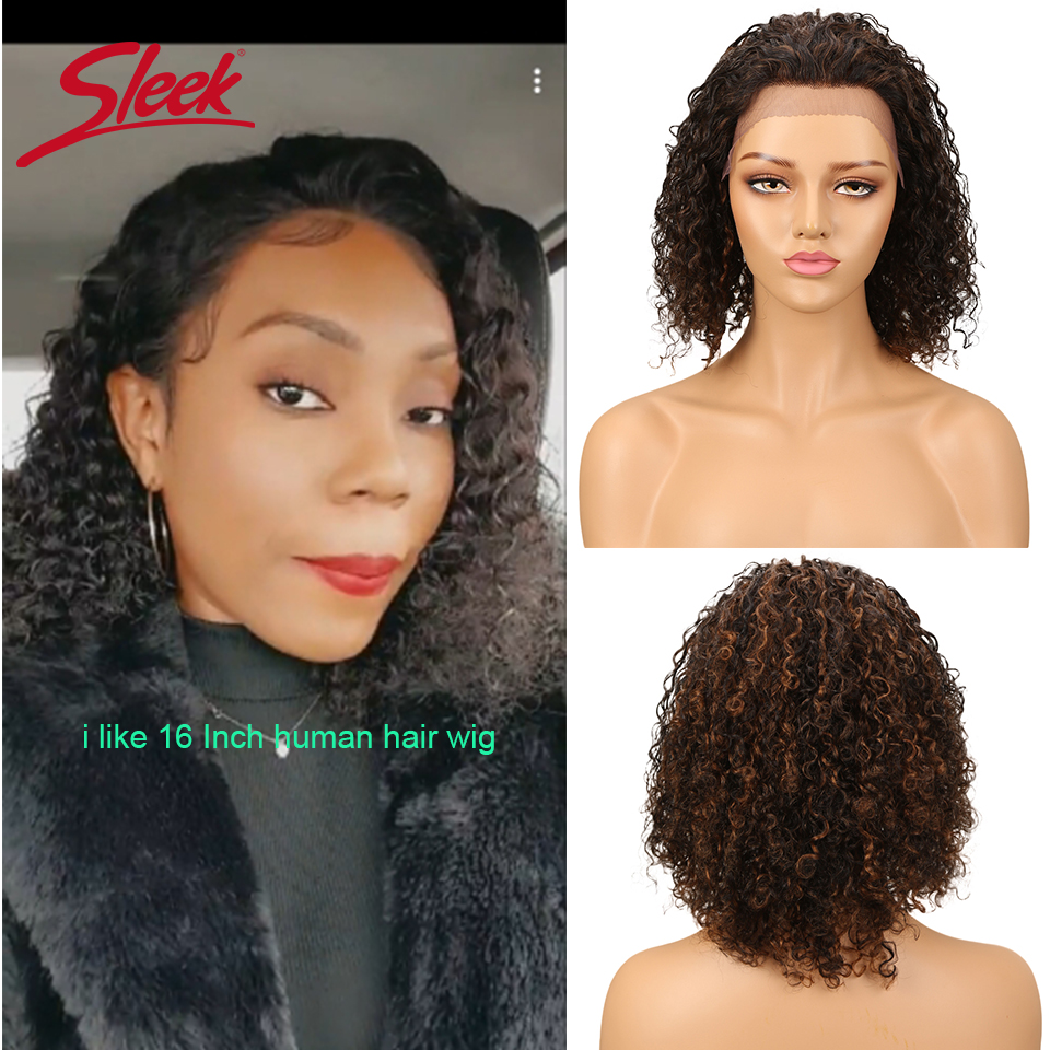 Sleek Lace Front Human Hair Wigs For Black Women Short Brazilian Hair Red Lace Part Wigs Water Wave Curl WigsBob Pixie Cut Wig