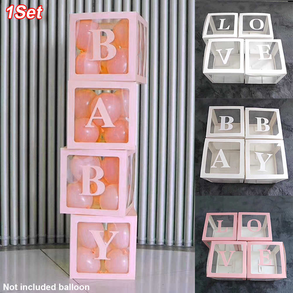 4Pcs Letter Printing Birthday Wedding Decor Transparent Balloon Box Storage DIY Easy Install Lightweight Baby Shower Square Home