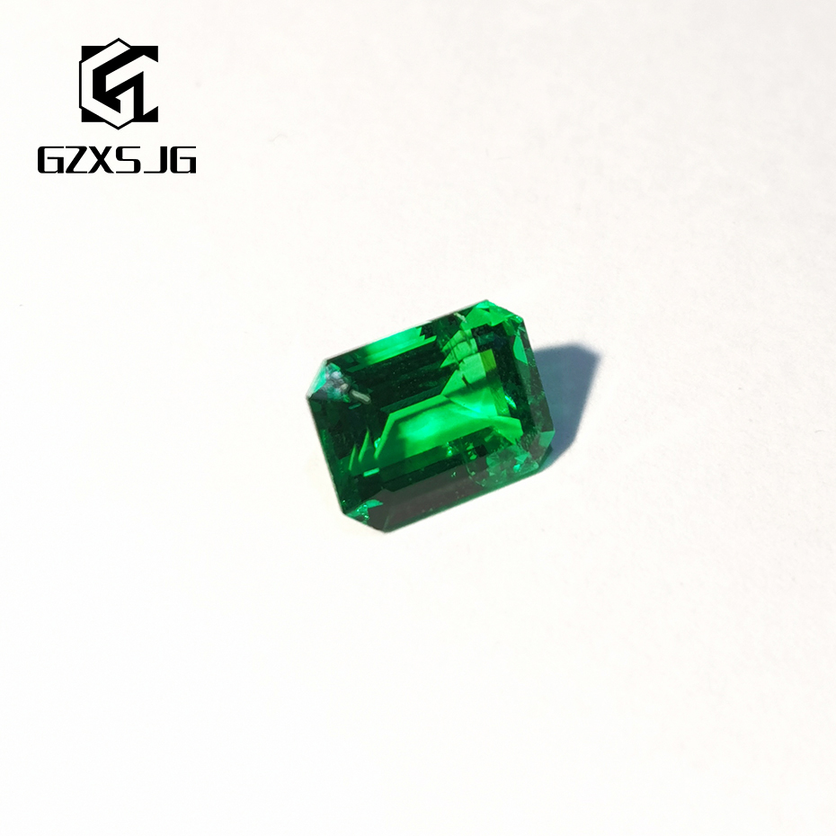 GZXSJG 6x8mm  Hydrothermal Emerald Lab Grown Loose Gemstone for Jewelry personal Customize rectangle Emerald Cutting Natural DIY