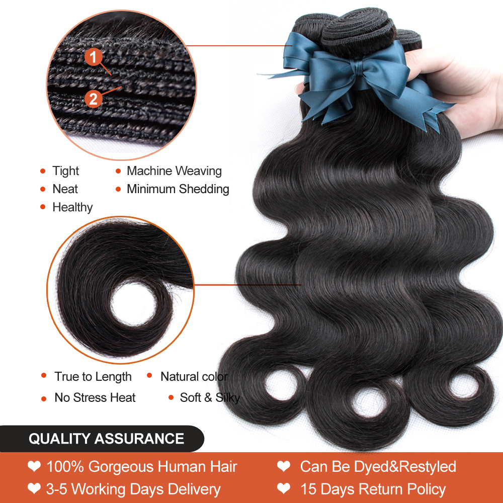 "Body Wave Hair Bundles Natural Black&Jet Black   Bundles 1/3/4 Piece 8-30""  Hair s 3"