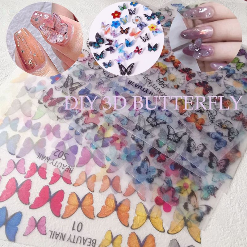 3D Colorful Butterfly Sheet Heat Shrink Handmade Mini Fairy Nail Art DIY Decor GXMC
