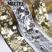 4M Eco-Friendly Sequins Lace Trims 3D Gold Silver Ribbons For Stage Dance Dress Belt Sewing Accessories KY877