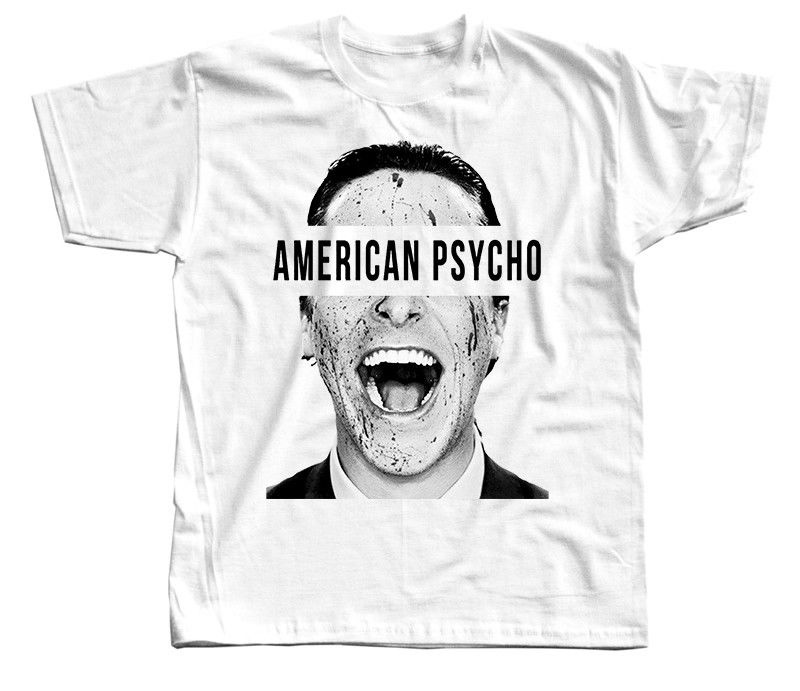 American Psycho, Movie Poster, Christian Bale T-Shirt WHITE All Sizes S-3XL Birthday Gift Tops Tee Shirt