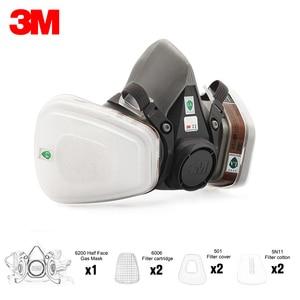 Image 2 - 7in1 3M 6200 חצי גז מסיכת הפנים + 6001/6002/6003/6004/6005/6006 מסנן מונשם לשימוש חוזר אורגני מסכת חומצה אורגני אדי & חומצה גז