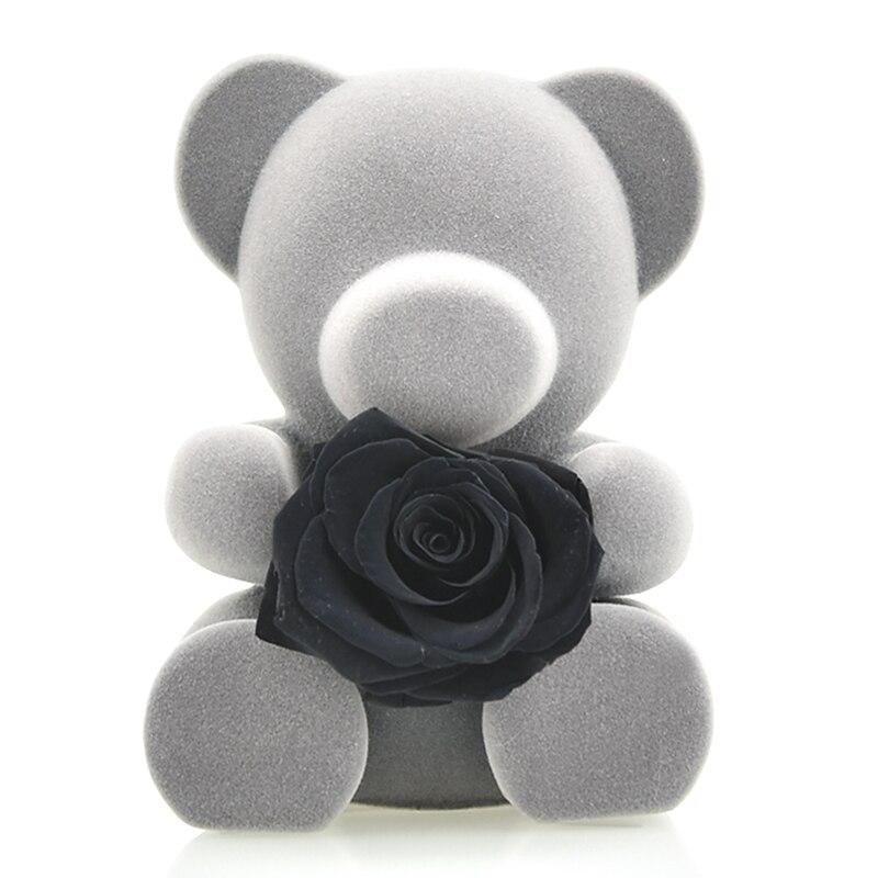 6 стилей,, свежие цветы красавицы и чудовища, красные вечные розы в стеклянном куполе, Рождественский подарок на день Святого Валентина, Прямая поставка - Цвет: black rose bear