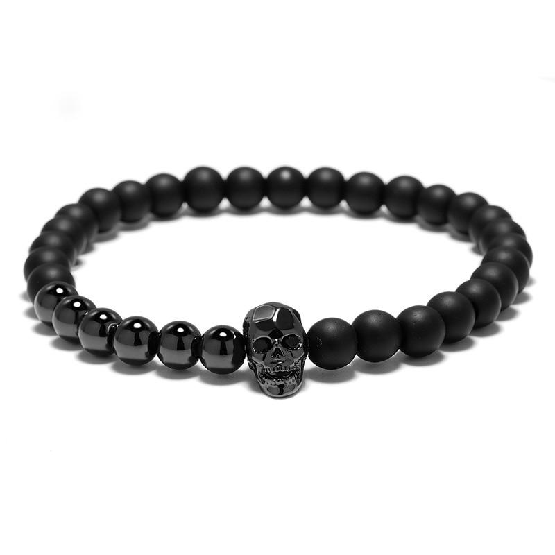 Bracelet perles tête de mort viking 2