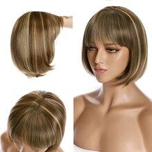 SNOILITE 12 дюймов короткие прямые волосы парики Для женщин термостойкие парики из искусственных волос в наличии черный, коричневый, красный цве...