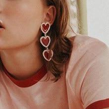 Tocona-pendientes largos con colgante rojo en forma de corazón para mujer y niña, aretes de gota de corazón de melocotón, diseño coreano, el mejor regalo 8733