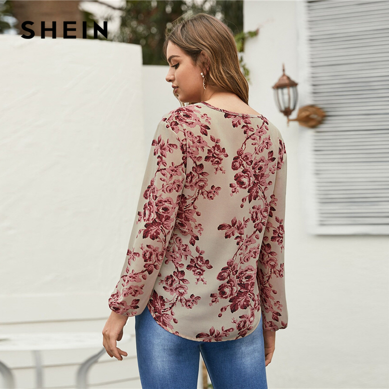SHEIN Floral Print Tie Neck Casual Blouse Women Tops 2020 Spring Holiday Multicolor Long Sleeve Ladies Bohemian Blouse Shirts 2