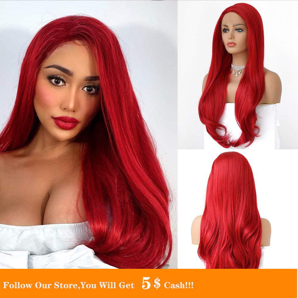 Long Wavy Red Heat Resistant Fiber Synthetic Lace Front Wig For Black/White Women's Cosplay Or Party Hair Wig With Baby Hair