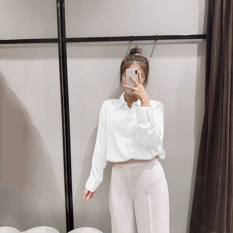 2020 Summer new womens tops and blouses casual shirt loose solid color long sleeved lapel shirt wild high quality women blouses