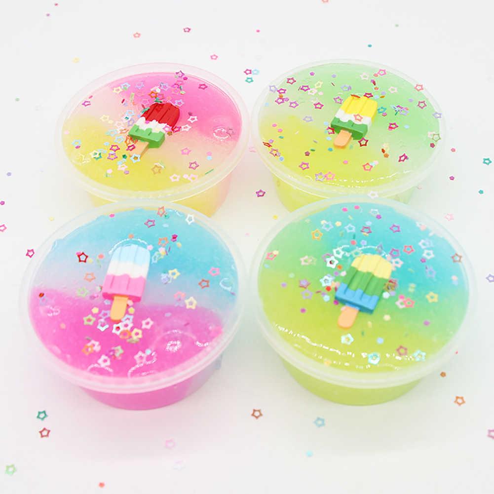 Juguetes de caja de limo transparente de relleno de arcilla de Color mezclado para niños