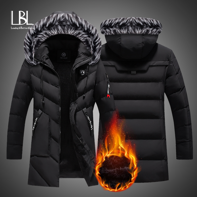 Kış uzun Parkas erkekler pamuk yastıklı marka giyim moda rahat ince kalın sıcak erkek mont kürk kapşonlu palto erkek giysileri
