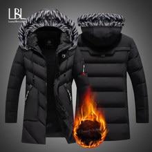 Parka long en coton pour homme, vêtement de marque rembourré, à la mode, slim, chaud et décontracté, manteaux, fourrure, capuche