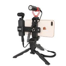 Vlogs suporte para celular, tripé fixo para câmera dji osmo, de bolso, conjunto de acessórios para câmera