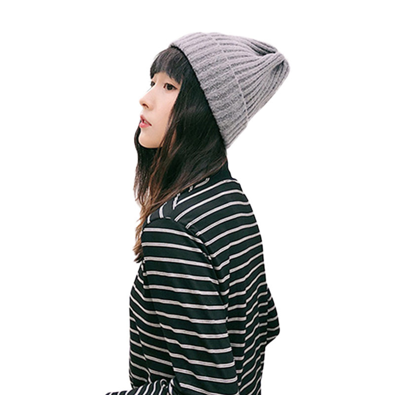 Sparsil Women Men Thick Warm Beanies Hat Solid Color Cute Melon Caps Popular Hand-knitted Winter Autumn Fashion Wool Hats